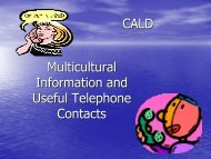 Multicultural Information and Useful Telephone Contacts CALD