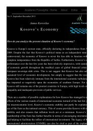 Kosovo's Economy - Academic Foresights