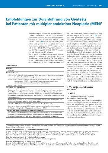 MEN - Schweizerischen Gesellschaft für Endokrinologie und ...