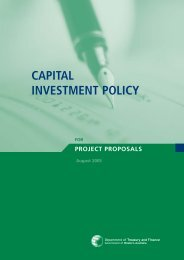 Capital Investment Plan - Department of Treasury Western Australia
