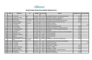 RECEPCIONES DEFINITIVAS PRIMER SEMESTRE 2011