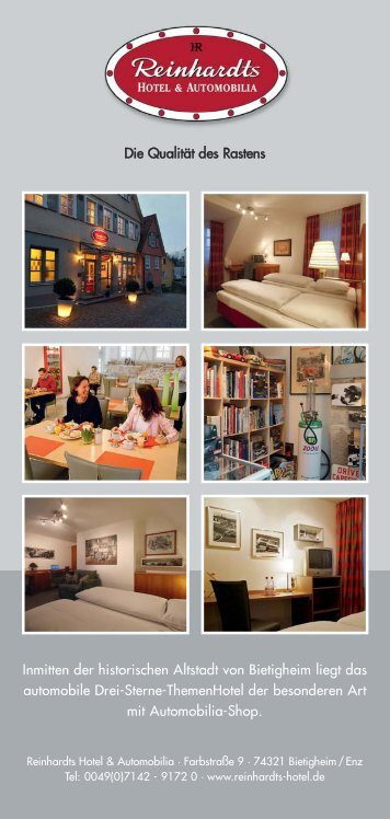 Hotel-Prospekt - Reinhardts - Hotel & Automobilia