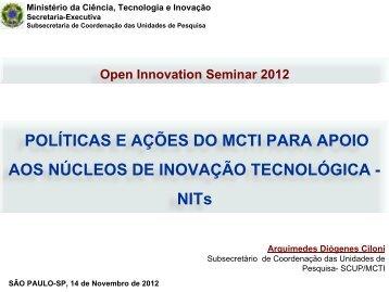 núcleos de inovoção tecnológica das unidades de pesquisa do mct