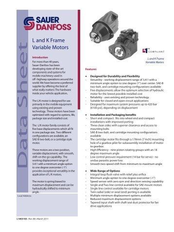Series 51 Bent Axis Variable Displacement Motors Sauer