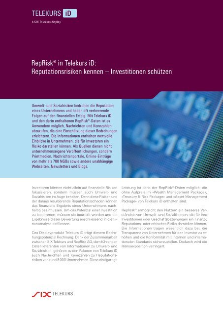 RepRisk® in Telekurs iD: Reputationsrisiken kennen – Investitionen ...