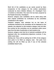 Merit list of the candidates as per marks scored ... - SSA Chandigarh