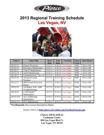2013 Regional Training Schedule Las Vegas, NV
