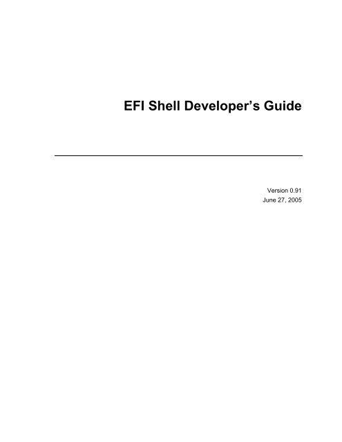 EFI Shell Developer's Guide - FTP
