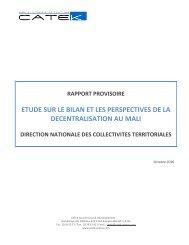 rapport provisoire etude sur le bilan et les perspectives de la ...