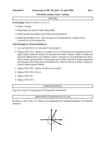 Matematik 1 Semesteruge 12 (BC (28. april - 30. april 2008) side 1 ...