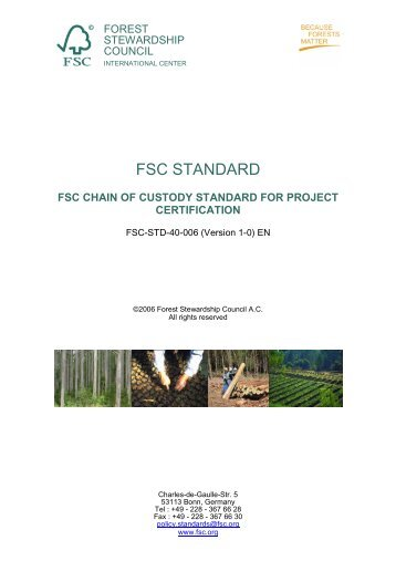 FSC-STD-40-006 V1-0 EN Project Certification - SCS Global Services
