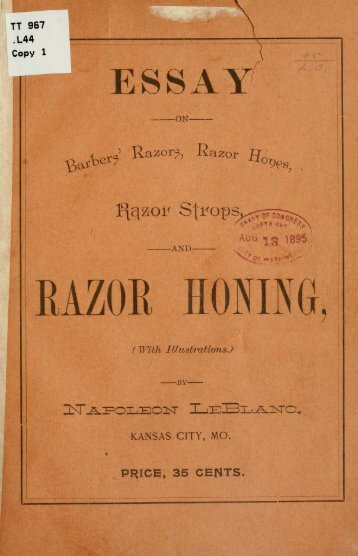 Essay on barbers - Straight Razor Place
