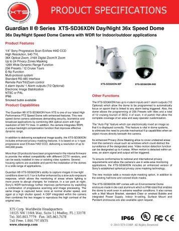 Guardian II ® Series XTS-SD36XDN Day/Night 36x ... - XTS Corp