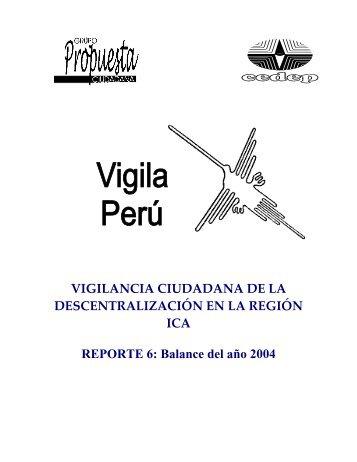 Región Ica: Reporte Nº 06 - Grupo Propuesta Ciudadana