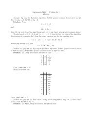 Mathematics 5335 Problem Set 1 Solutions Example: By using the ...