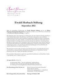 Ewald Horbach Stiftung Stipendien 2012 - Robert Schumann ...