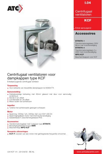 KCF - Centrifugaal ventilatoren voor dampkappen - Air Trade Centre