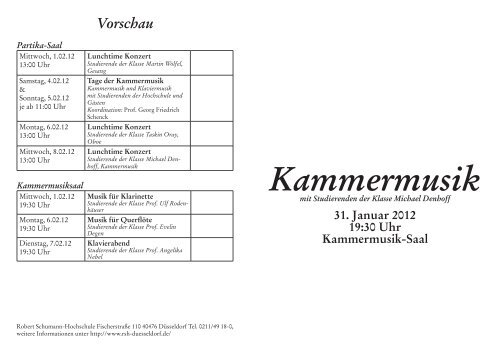 Kammermusik - Robert Schumann Hochschule Düsseldorf