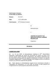 Date : - Commission d'accès à l'information du Québec