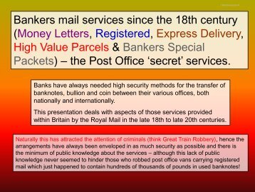 High Value Packets and Bankers Special Packets – the Post Office