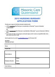 Masonic Care Bursary application form - QUT