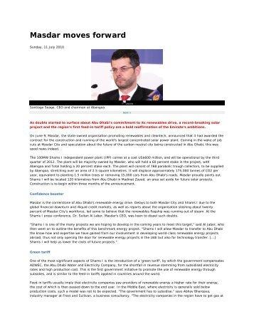 Masdar moves forward - Middle East Electricity