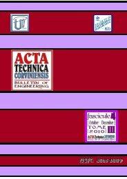 ACTA TECHNICA CORVINIENSIS - Bulletin of Engineering