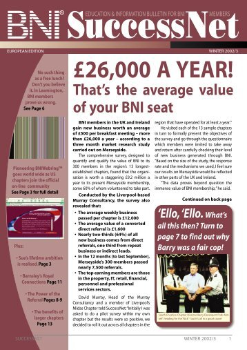 SuccessNet Winter 2002 - BNI Europe