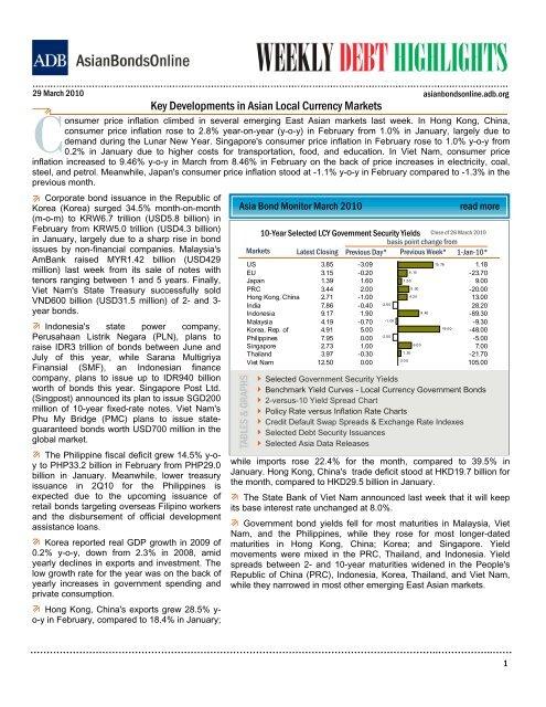 Key Developments in Asian Local Currency Markets