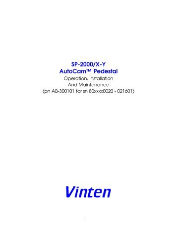 SP-2000/X-Y AutoCam™ Pedestal - Vinten Radamec