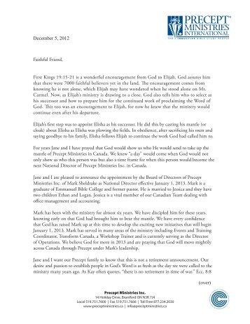 Letter from Tom & Jane - Precept Ministries