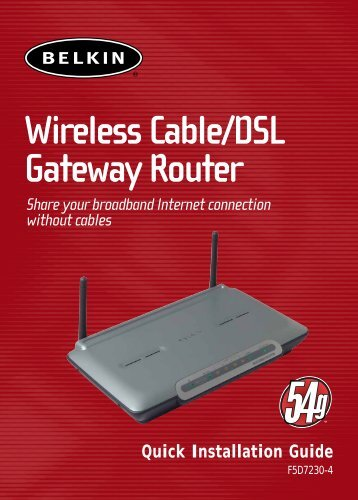 Wireless Cable/DSL Gateway Router - Software Archives