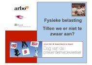 Fysieke belasting Tillen we er niet te zwaar aan? - Arbo Online