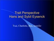 Trait Perspective Hans and Sybil Eysenck