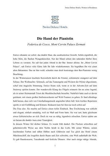 Die Hand der Pianistin Federica de Cesco, Mont Cervin Palace ...