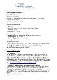 Newsletter Career Service 01/2011 Liebe Studierende, liebe ...