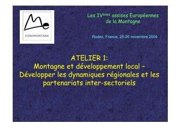 ATELIER 1: Montagne et développement local ... - Euromontana