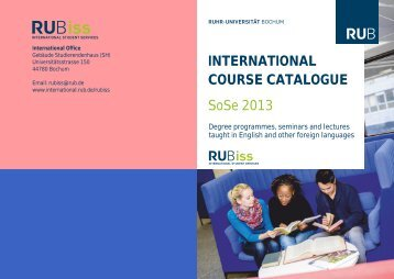 SoSe 2013 INTERNATIONAL COURSE CATALOGUE