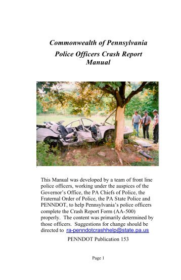 Commonwealth of Pennsylvania Police Officers Crash ... - NHTSA