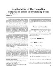 Applicability of The Langelier Saturation Index to Swimming Pools