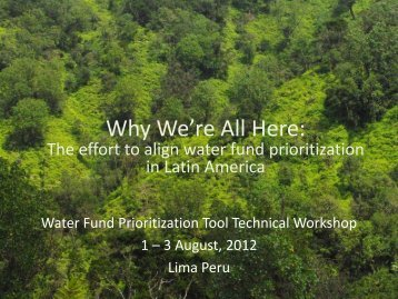 Why We're All Here: - Natural Capital Project