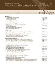 Aktuelle Mittagskarte (pdf) - Hotel Waldhorn