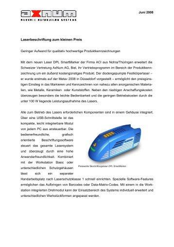 Laserbeschriftung zum kleinen Preis - AxNum AG