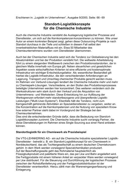 Standort-Logistikkonzepte für die Chemische Industrie - Lehnkering