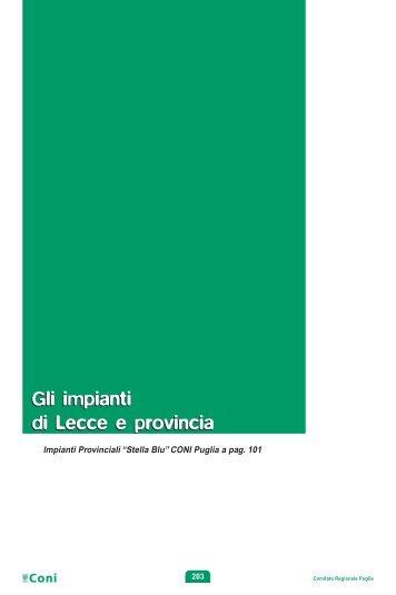 Gli impianti di Lecce e provincia Gli impianti di Lecce e ... - Coni Puglia