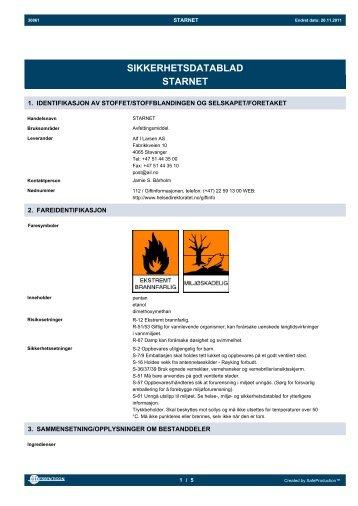 SIKKERHETSDATABLAD STARNET - Alf I. Larsen AS