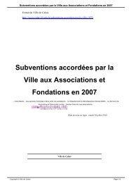 Subventions accordées par la Ville aux ... - Ville de Calais