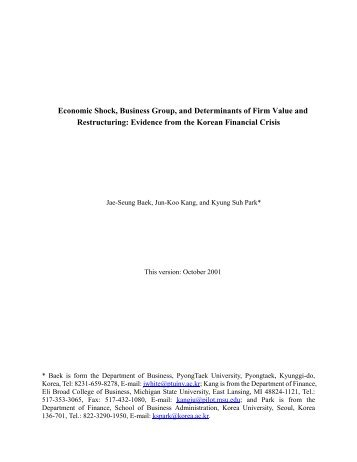 Economic Shock, Business Group, and Determinants of Firm Value ...