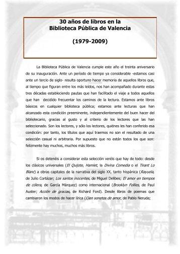30 años de libros en la Biblioteca Pública de Valencia (1979 ... - gva