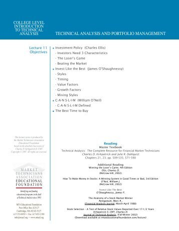 technical analysis and portfolio management - Knowledge Base